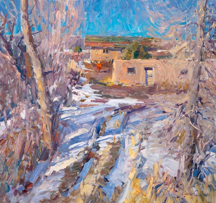 Walt Gonske, Arroyo Seco Adobes, oil, 8 x 10.