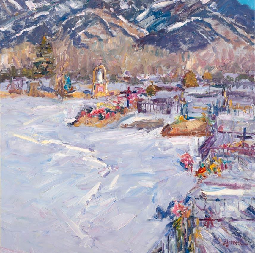 Walt Gonske, Campo Santo de Taos, oil, 8 x 10.