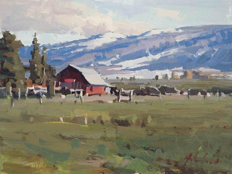 Liberty Farm, acrylic, 6 x 10.