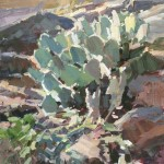 Desert Cactus, acrylic, 9 x 12.