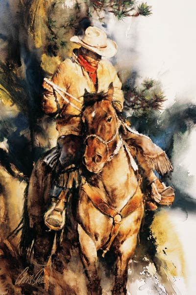 A Cowboy's Morning, gouache, 32 x 22.