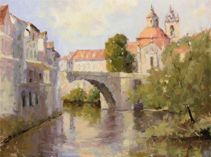 Amarante Church, oil, 18 x 24, by Brent Jensen