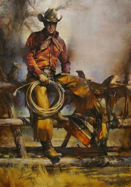 Career Cowboy, oil, 34 x 24.