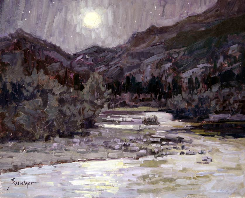 Cub Lake Trailhead Nocturn in Purple Yellow Greys, oil, 16 x 20, by Susiehyer