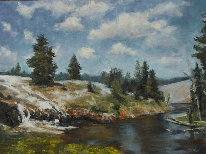 Firehole River, oil, 24 x 18, by Valerie Amon