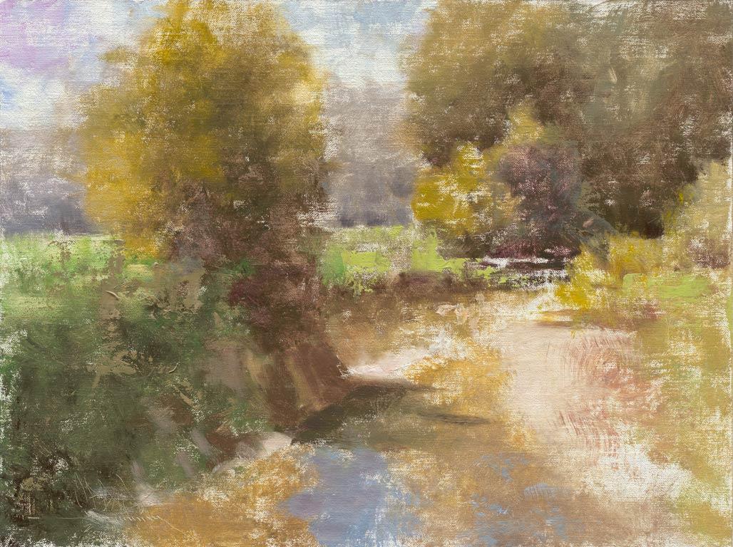 Hamilton Creek Near Story, Indiana, oil, 9 x 12, by C.W. Mundy