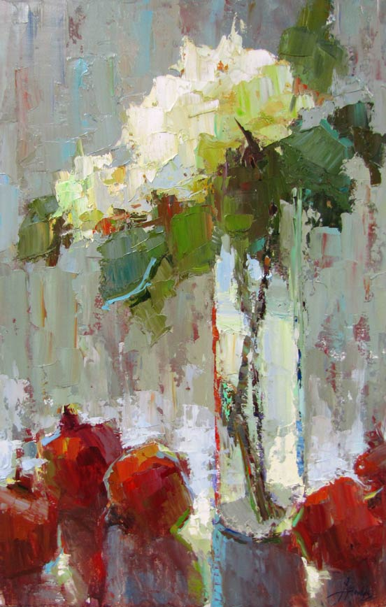 Hydrangeas and Pomegrantes, oil, 36 x 24, by Barbara Flowers