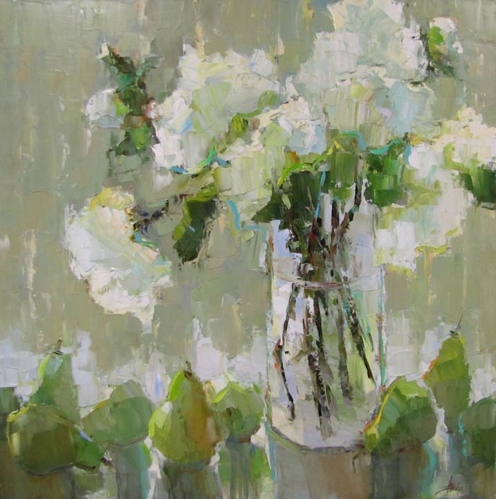Hydrangeas and Pears, oil, 40 x 40, by Barbara Flowers