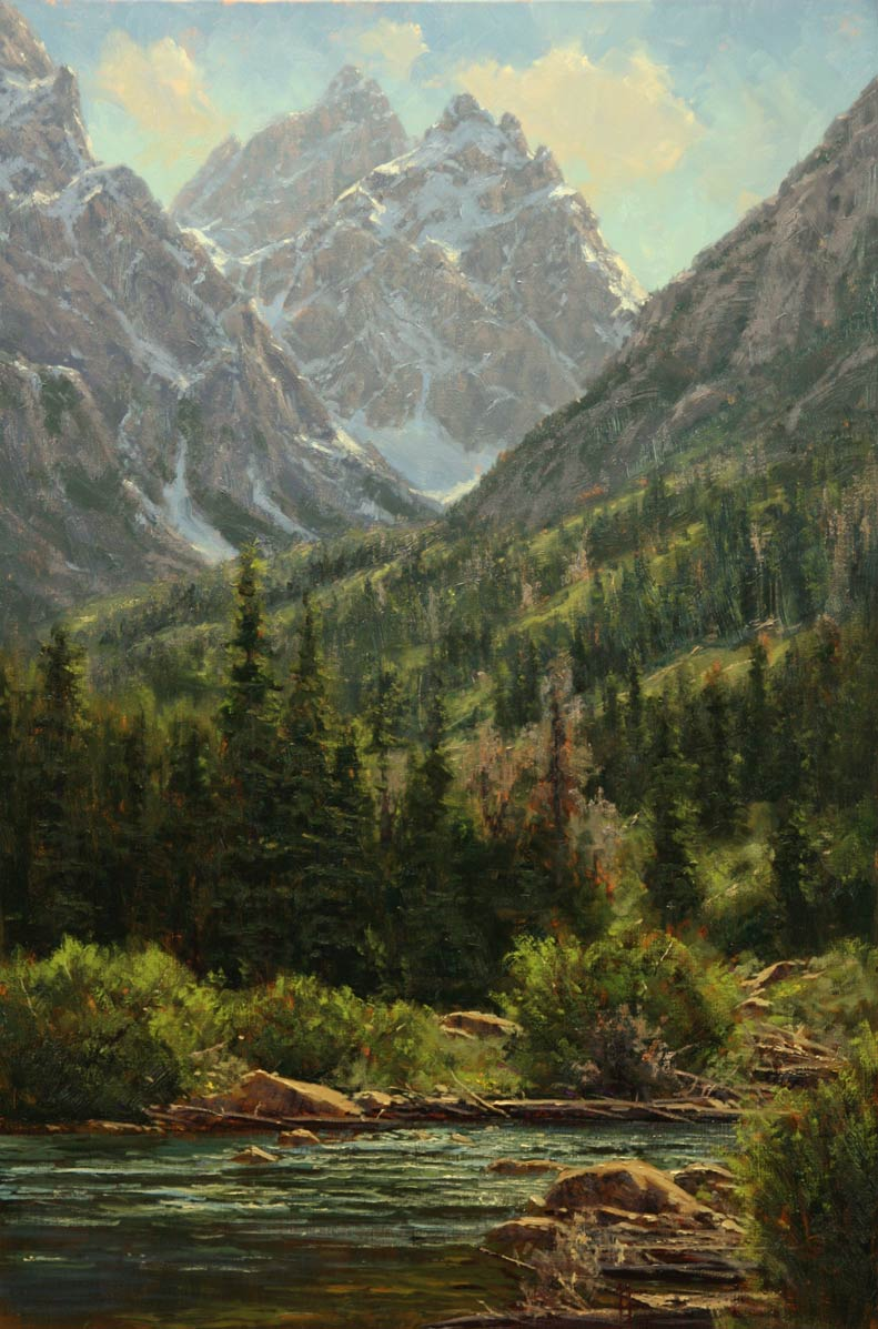 Cathedrals from String Lake, oil, 36 x 24.