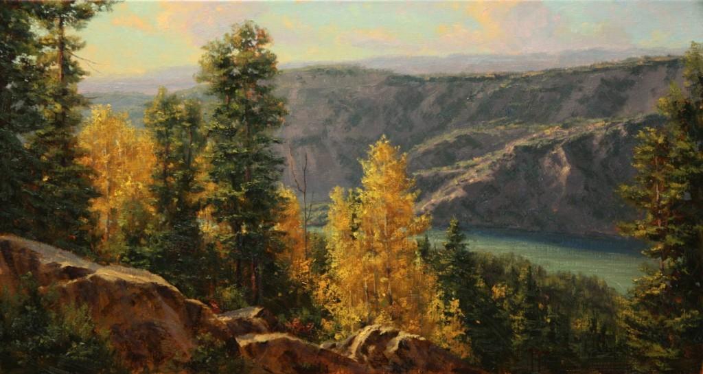 Long Lake at Wind River, oil, 15 x 28.