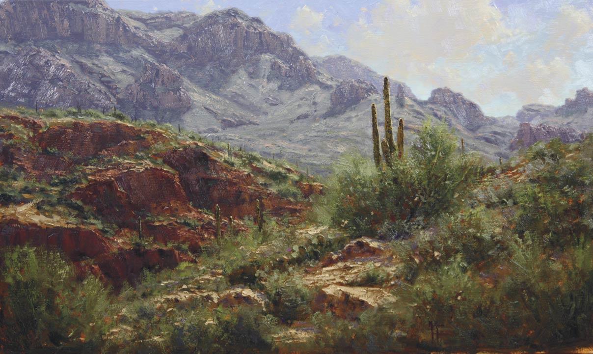 Off the Apache Trail, oil, 18 x 30.