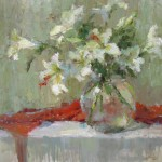Lilies, oil, 36 x 36, by Barbara Flowers