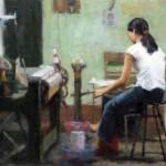 Silk Factory, oil, 24 x 36, by Melissa Gann