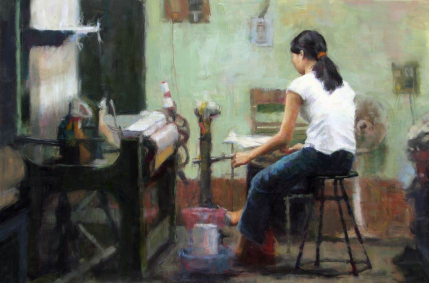 Silk Factory, oil, 24 x 36, by Melissa Gann