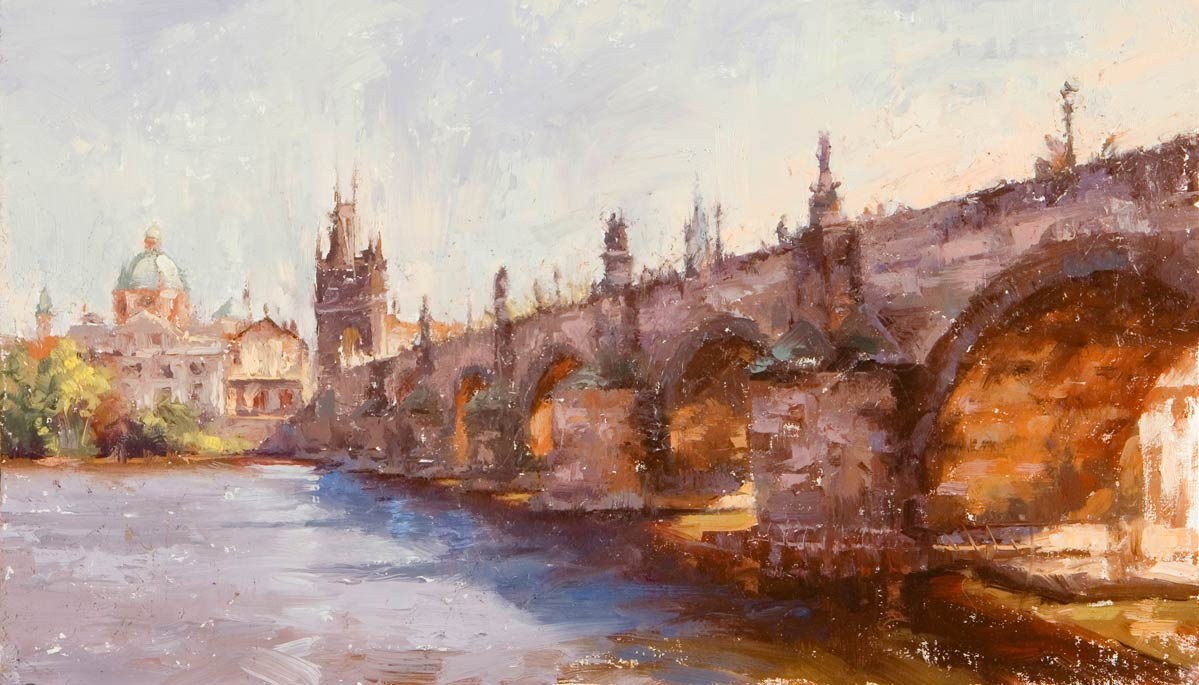 St. Charles Bridge, Prague, oil, 24 x 36, by Todd Williams