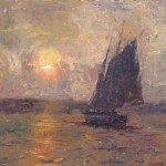 Sunset at Rockport, oil, 14 x 21, by C.W. Mundy
