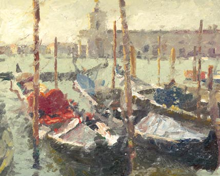 Venice Gondolas, oil, 16 x 20, by C.W. Mundy