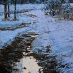 Winter Drive Dusk, oil, 18 x 24, by Susiehyer
