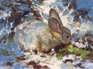 Barbara Hill, First Sign of Spring, oil, 9 x 12.