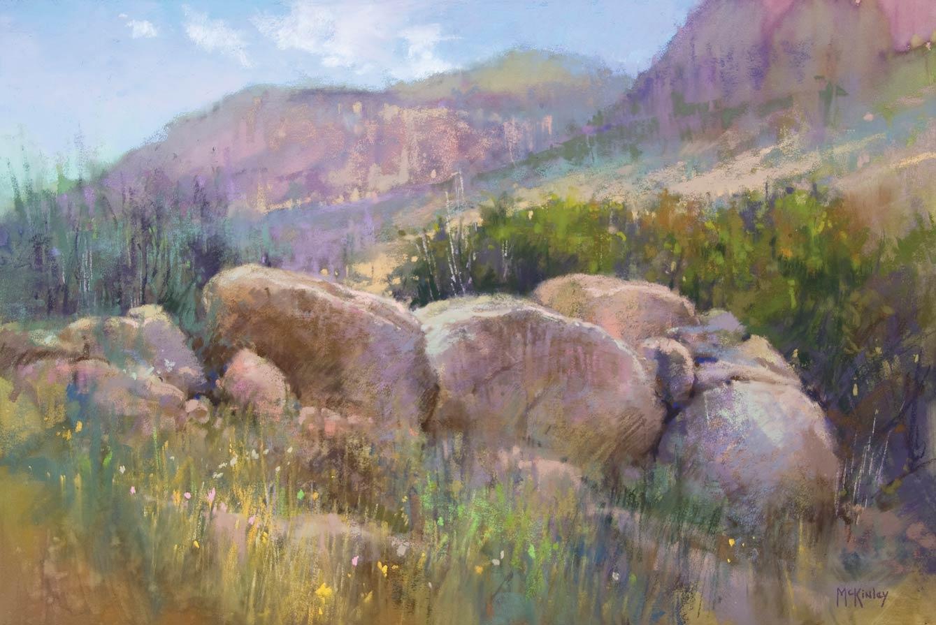 Stones of the Sandia, pastel, 12 x 18.