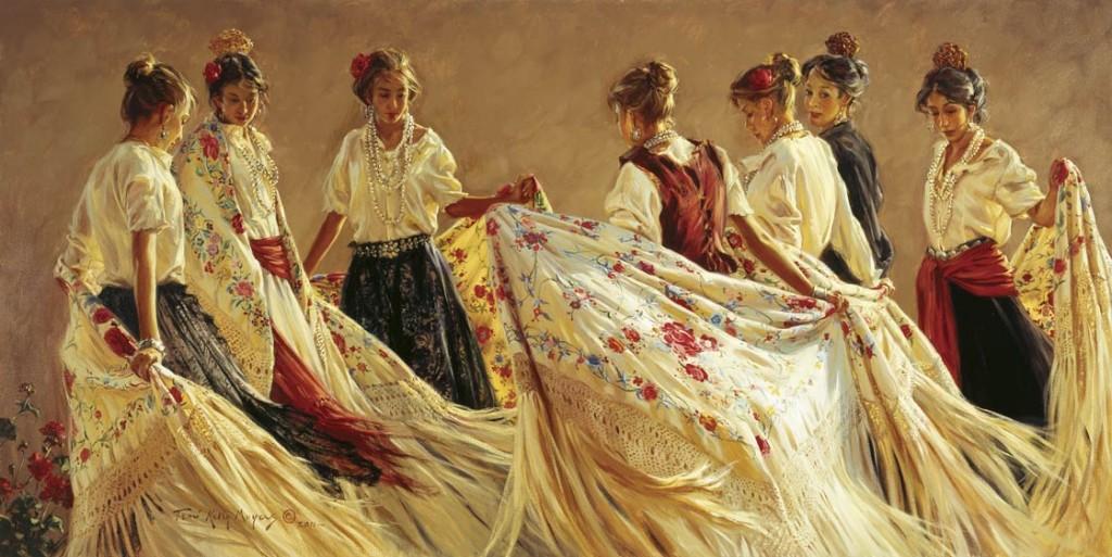 Terri Moyers, El Tejido de la Familia, oil, 24 x 48.