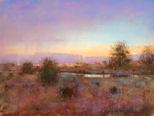 Tom Perkinson, August Rainstorm, pastel, 12 x 16.