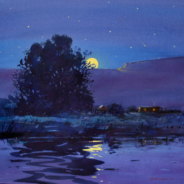 Tom Perkinson, Full Moon, Summer, watercolor/mixed media, 16 x 16.