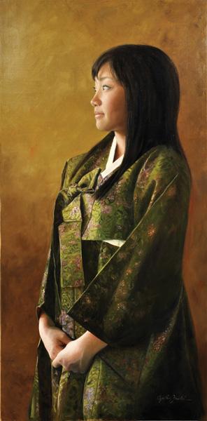 Cynthia Feustel, Green Hanbok, oil, 36 x 18.