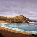 Larry Cannon, Monastery Beach, Carmel, watercolor, 13 x 21.