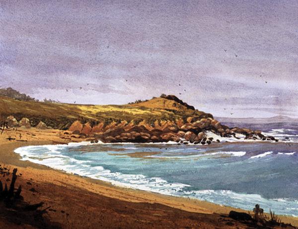 Larry Cannon, Monastery Beach, Carmel, watercolor, 13 x 21.