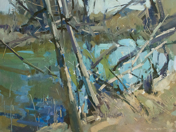 Jill Carver, Crabapple Creek, Study, oil, 9 x 12.