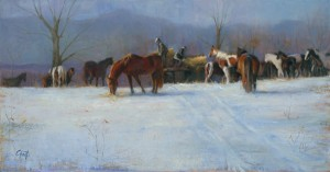 Wanda Choate, The Christmas Offering, oil, 20 x 35.