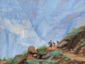 Dave Santillanes, Morning Mule Train (Study), oil, 9 x 12.