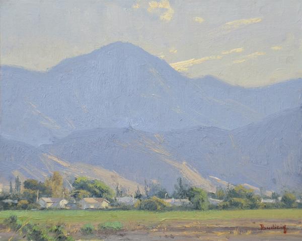 John Budicin, Eighty Degrees and Climbing, oil, 8 x 10.