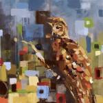 Britt Freda, Layers: Spotted Owl, acrylic, 30 x 24.
