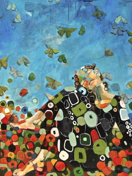 Britt Freda, Unraveled by Butterflies, acrylic/graphite, 40 x 30.