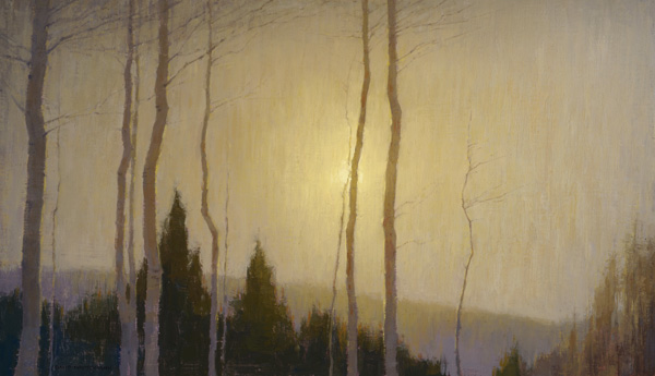 David Grossmann, Lowering Sun, oil, 14 x 24.
