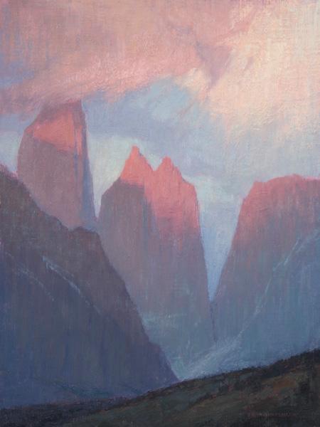 David Grossmann, Sunrise on the Towers, oil, 16 x 12.