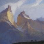 David Grossmann, The Cuernos, oil, 10 x 17.