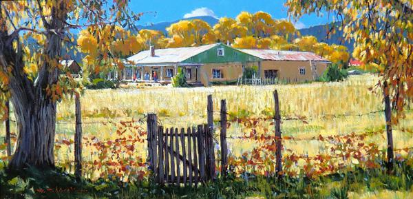 William Hook, Hacienda Gate, acrylic, 18 x 36.