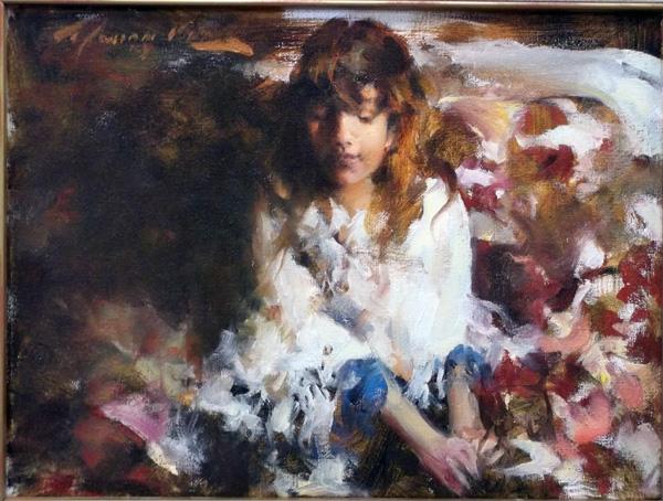 Ramon Kelley, Girl With Shawl, oil, 9 x 12.