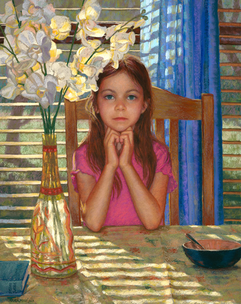 Rita Kirkman, Audrey With Flowers at Seven, pastel, 28 x 22.