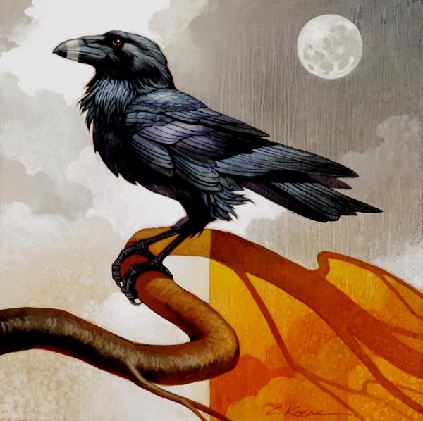 Craig Kosak, Merlin and the Silver Moon, oil, 12 x 12.