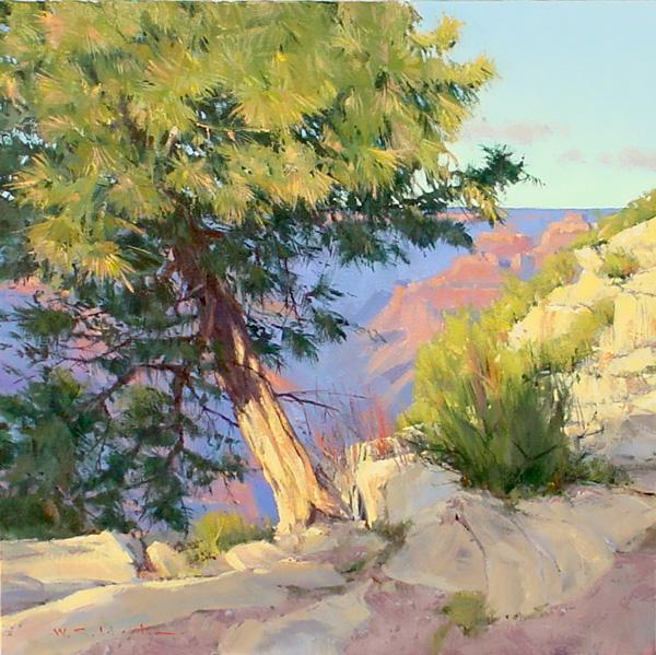 William Hook, Leaning Pine, acrylic, 24 x 24.