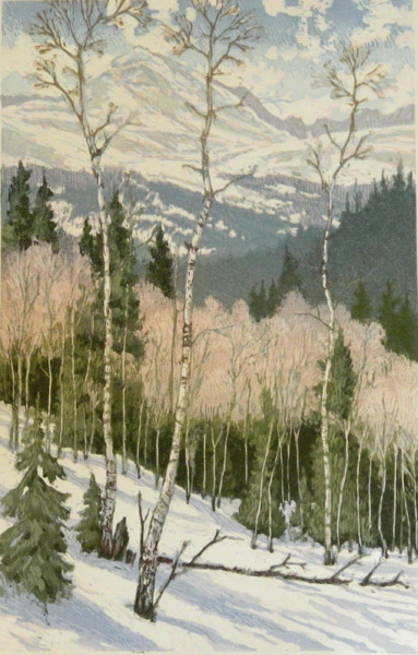 Leon Loughridge, March Snow, woodblock print, 22 x 14.