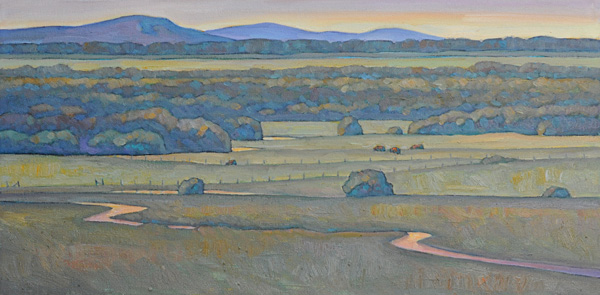 Howard Post, Bottom Land, oil, 12 x 24.