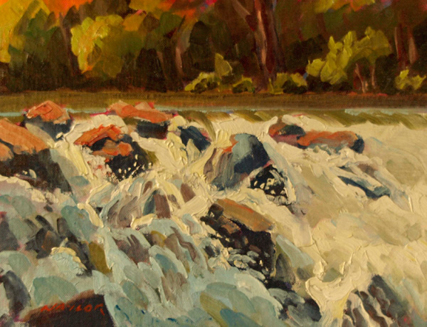 Rodgers Naylor, Waterfall, oil, 9 x 12.