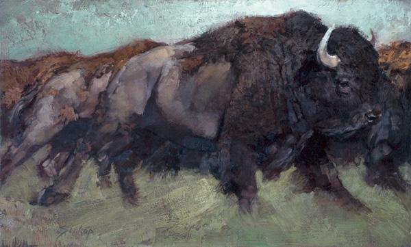 Jill Soukup, Dark Bull Surge, oil, 30 x 48.