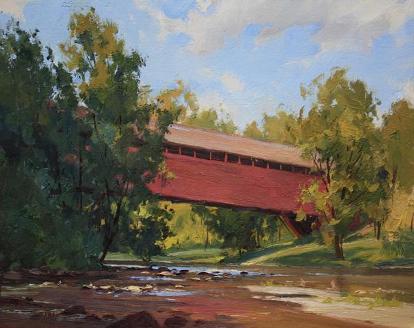 Kenn Backhaus, The Old Covered Bridge, oil, 11 x 14.