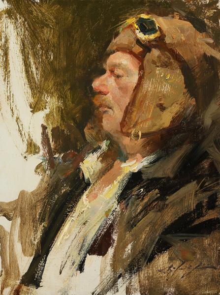 Hsin-Yao Tseng, Man in Flight Cap, oil, 16 x 12.